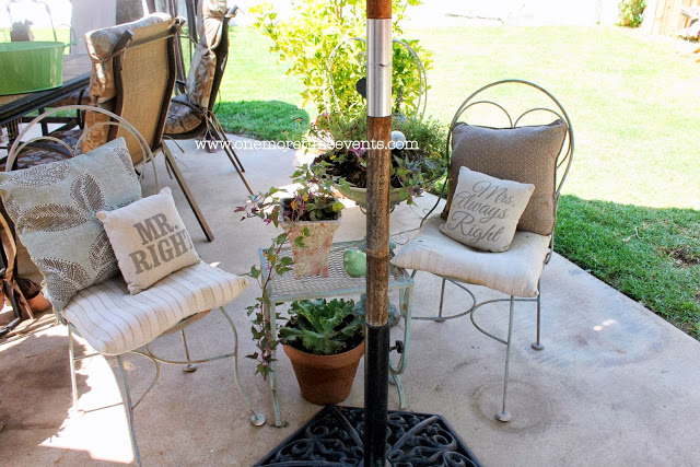outdoor umbrella table made from a pallet and saw horses, diy, how to, outdoor furniture, outdoor living, painted furniture, pallet, repurposing upcycling, Space before table was added