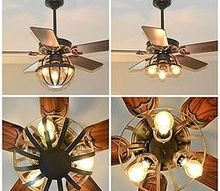 diy industrial ceiling fan with garden planter cage lights, home decor, lighting, repurposing upcycling