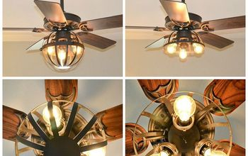 DIY Industrial Ceiling Fan [With Garden Planter Cage Lights]