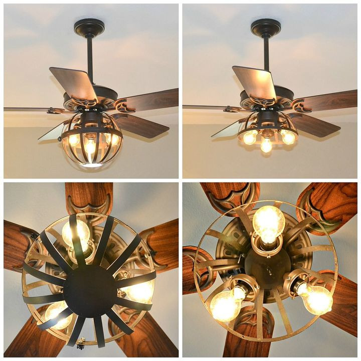 Diy industrial ceiling fan with garden planter cage lights home decor lighting repurposing