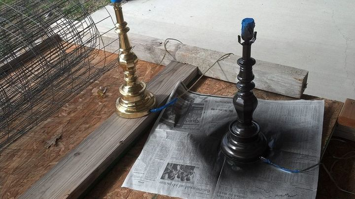 Until I looked at this picture I never realized they were different... 15 years with them and never noticed.  2-3 light coats of Bronze spray paint. I would suggest either removing the cord, or taping and putting it in a baggie.