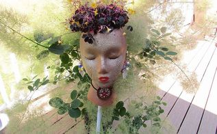 styrofoam garden pot stake, crafts, gardening, repurposing upcycling, This lovely young lady is ready to add a touch of beauty to any garden