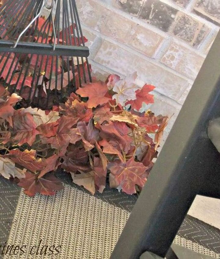 I used a couple of leaf garlands and our rake to recreate a look from an inspiration source.