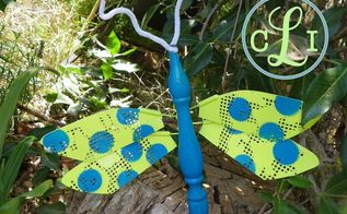 tutorial for winged bug for the garden, crafts, gardening, repurposing upcycling, By cutting a flyswatter and painting a cute little pattern these are the perfect wings