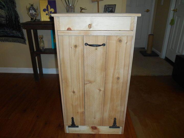 wood garbage bin, storage ideas, woodworking projects
