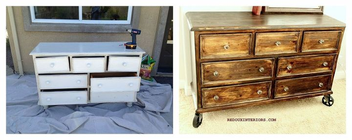 I used an old Country Style Broyhill dresser that was a free to me. Stripped and stained it, using a mottled stain method.  Added Vintage Reproduction Casters and knobs.  Completely new look.