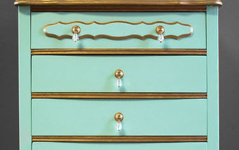 mint gold french provincial dresser, painted furniture