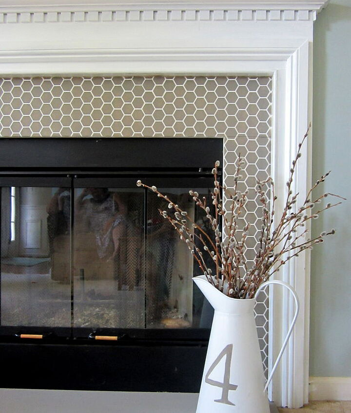 stenciled faux tile fireplace makeover, fireplaces mantels, home decor, living room ideas