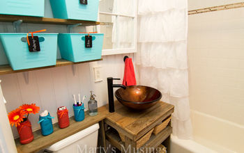how do you make a small bathroom seem big you remodel it yourselves, bathroom ideas, diy, home decor, home improvement, how to, painting, repurposing upcycling, small bathroom ideas