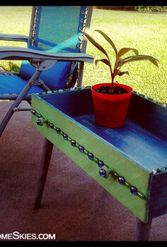 repurposed dresser drawer into baubled patio table, painted furniture, repurposing upcycling, Turn an old drawer into a handy patio table