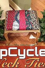 upcycled tobasco necktie upholstery, painted furniture, repurposing upcycling, reupholster, window treatments