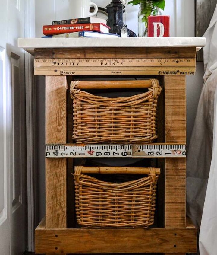 Have some reclaimed wood laying around? Make your own side table! http://www.funkyjunkinteriors.net/2013/06/pallet-wood-basket-drawers-yardstick-trim-nightstand.html