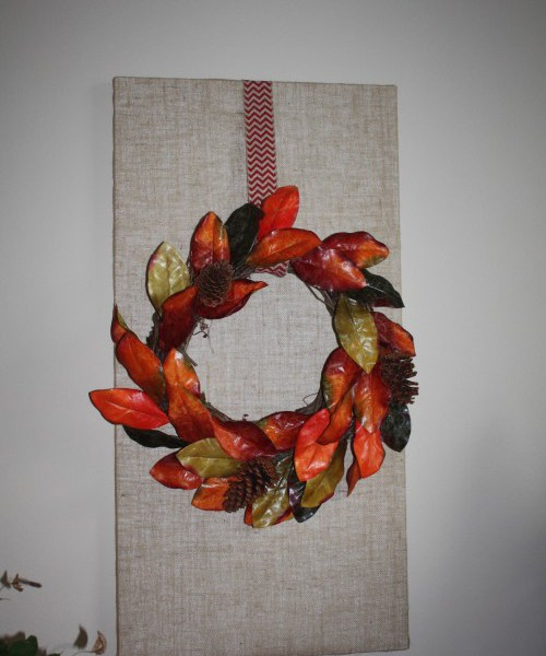 Learn how to make a burlap covered canvas for Fall.