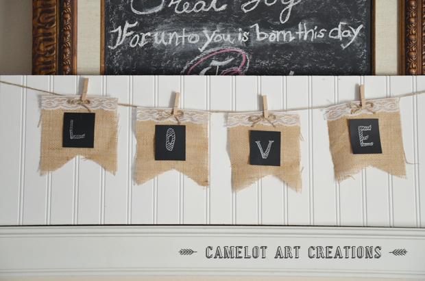 diy burlap banner vintage party decor, chalkboard paint, crafts, pallet, repurposing upcycling, seasonal holiday decor