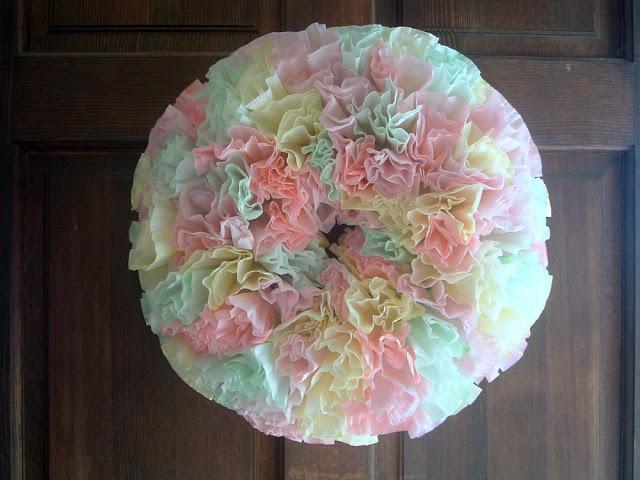 spring coffee filter wreath, crafts, wreaths, Make this dyed coffee filter wreath for your spring door