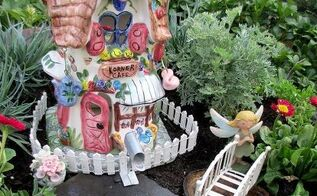 a fire pit fairy garden two versions choose your favorite, crafts, gardening, repurposing upcycling, Pretty in pink white the girly garden