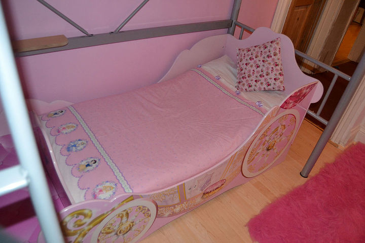 Princess bed £80 - Ebay Disney material £4 backed with the remainder of the flat sheet left over from the curtains made into a duvet cover.
