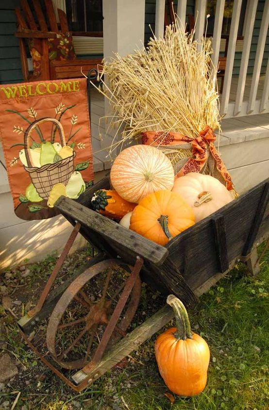 I brought the old wagon out and filled it with gourds, pumpkins and wheat stalks.
