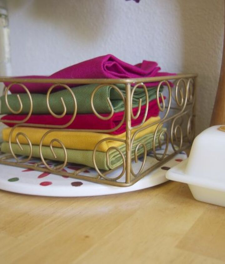 After a meal, the napkins get stored in a thrift-store basket that stays on our table.