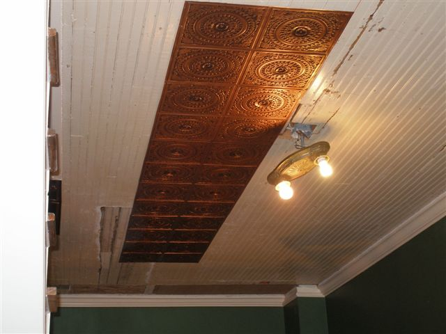 This Ceiling was Tongue & Groove Ceiling in a 100 plus year old farm house. Design # 117 Antique Copper is just glue to wood.
