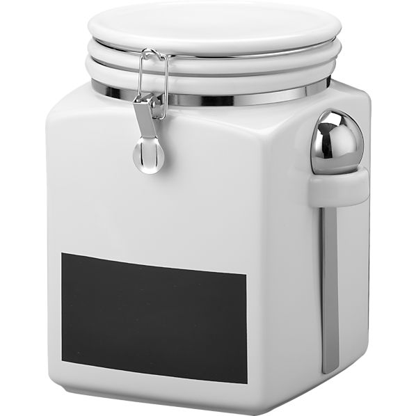 Use this chalkboard cannister from Crate & Barrell so you can put the chalk to use on the door & to label and relabel and relabel...http://bit.ly/Sh30V6