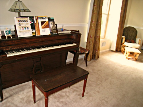Design for a small living room hometalk for Smallest piano size
