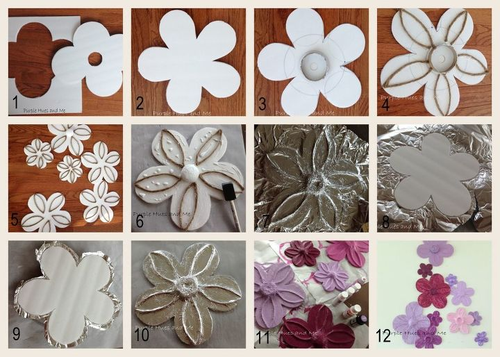 Here's a picture tutorial on how I made the flowers using foam board, aluminum foil, jute rope, acrylic paint and a few more items.