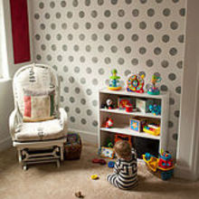 polka dots allover, home decor, Large scale Polka Dot stenciled nursery