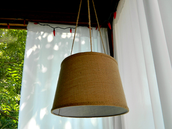 No electricity grass cloth drum shade pendant using battery-operated LED light ...
