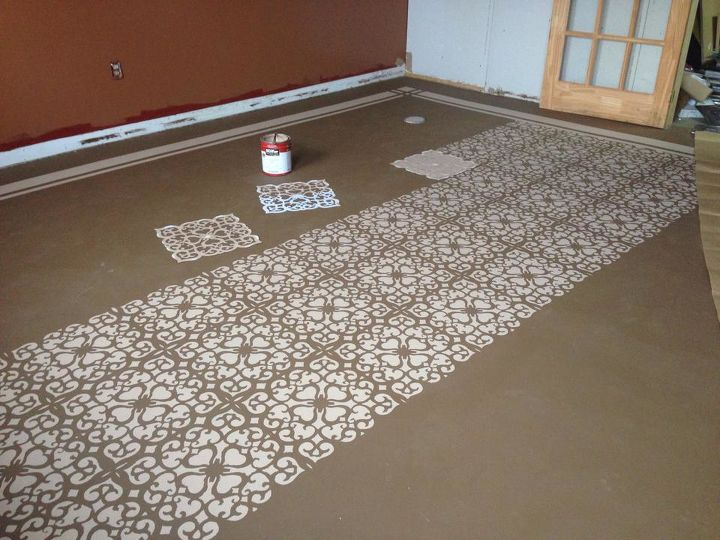 Painted concrete floors hometalk for Can i paint a concrete floor