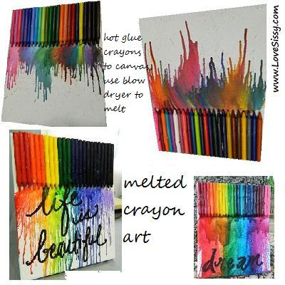 melted crayon art--all you need is a canvas, glue, crayons, & a blow dryer!