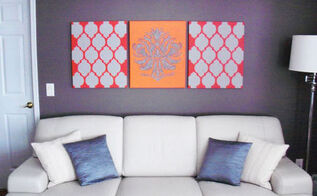 home decorating idea stenciled wall art, home decor, painting, wall decor, Casablanca and Gabi s Brocade Stenciled Canvases