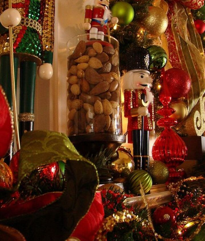 Traditional holiday nuts served as the perfect perch in a glass vase for our shorter nutcrackers to stand guard a little easier.
