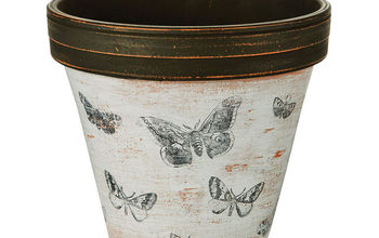 Black and Whitewashed Butterfly Clay Pot