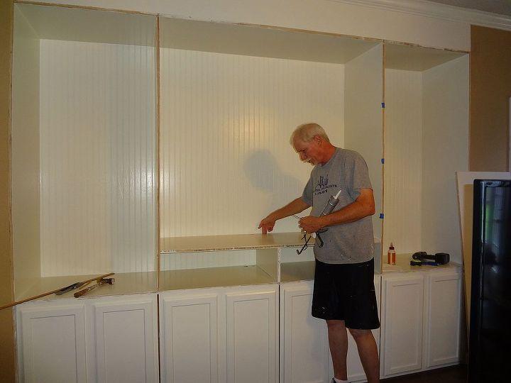 custom built entertainment center, diy, kitchen cabinets, living room ideas, painted furniture, shelving ideas