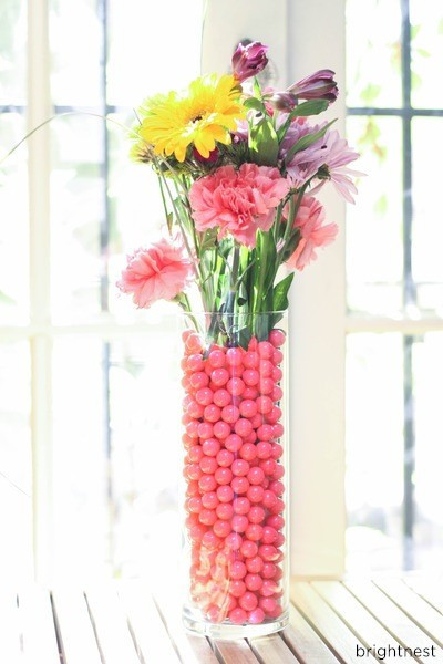 Layered vase. It's hard to find a vase that will match the vibrant, eclectic colors of some bouquets, but it's not hard to find matching candy!