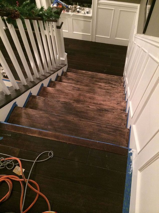 Step 11: Sand the stairs that were destroyed during the bathroom remodel.