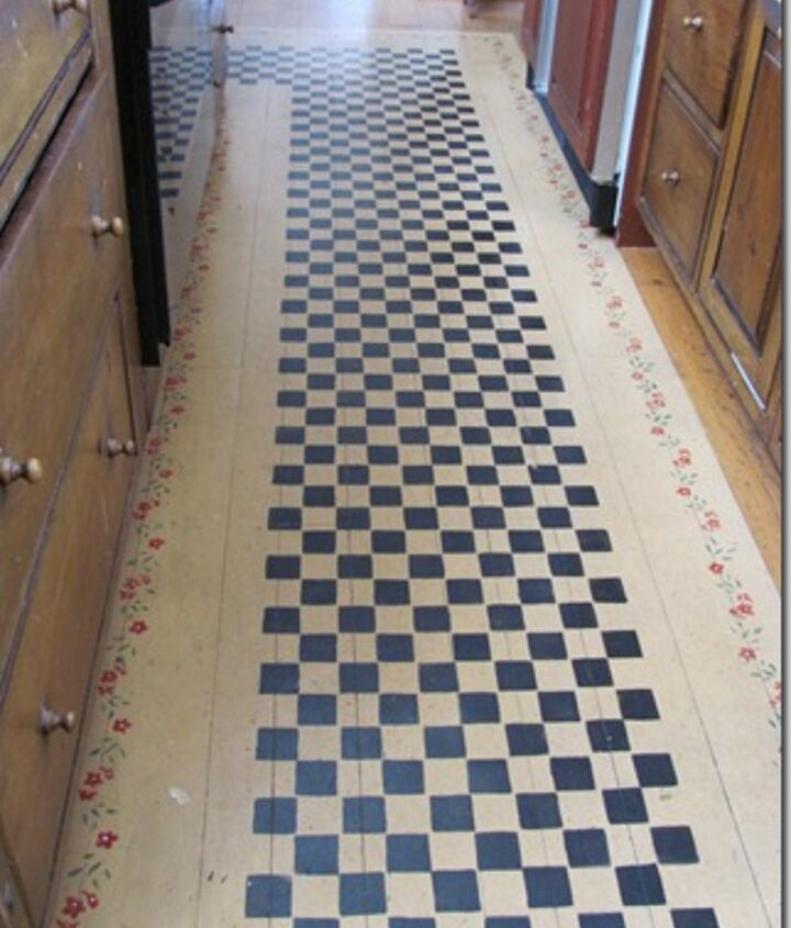 kitchen stenciled floor, flooring, painting