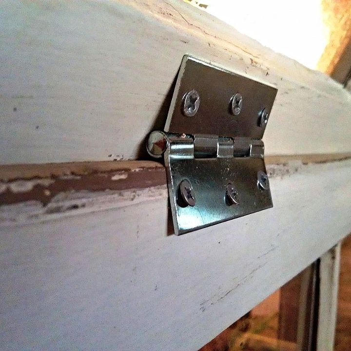 I used 2 hinges per side to secure the roof windows to the side windows and at the roof peak to secure both roof windows together. The remaining two hinges were used to attach the front window on one side so it could be used as a door.