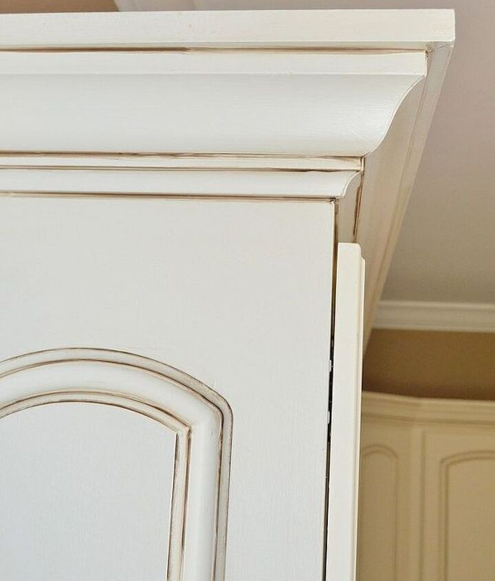 Close up view of painted and glazed cabinets.