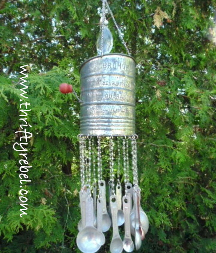 vintage sifter wind chimes, gardening, repurposing upcycling