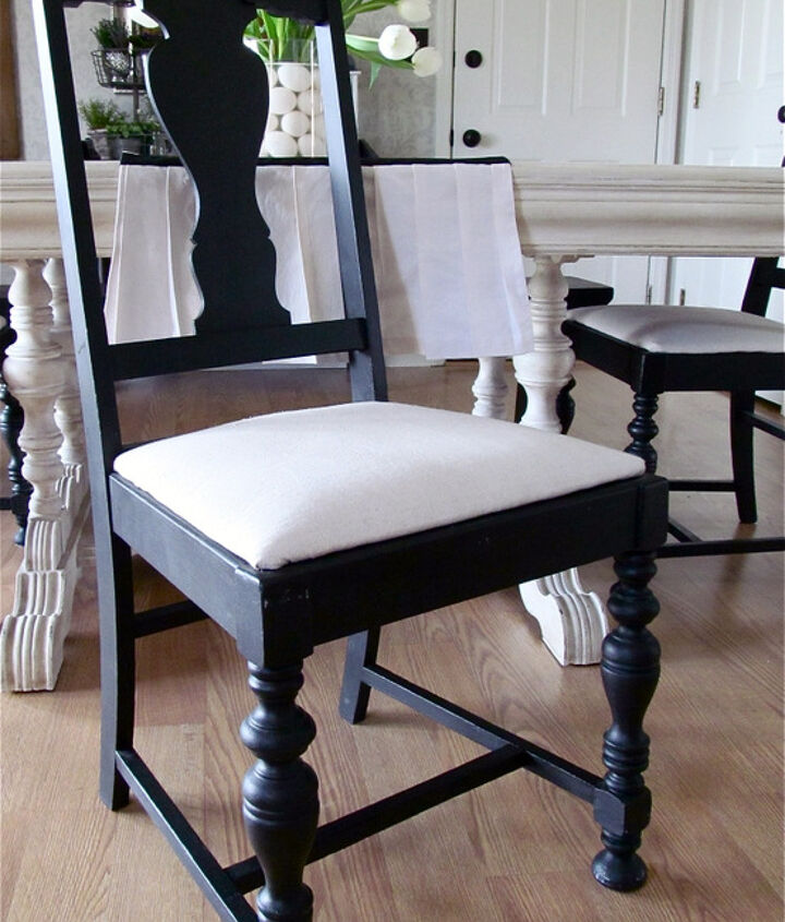 Black paint and drop cloth upholstered seats for the chairs.