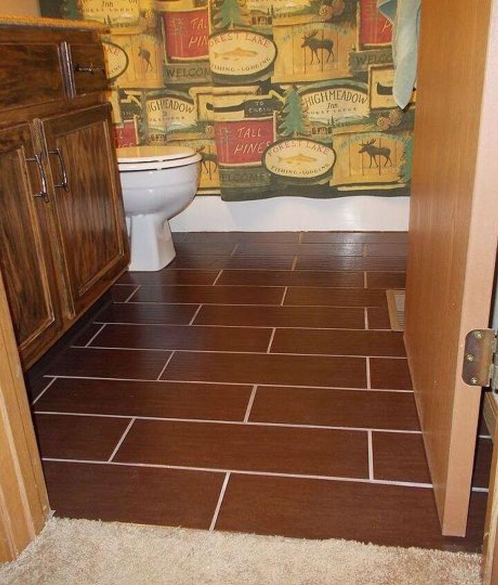 wood look ceramic tile, bathroom ideas, tiling