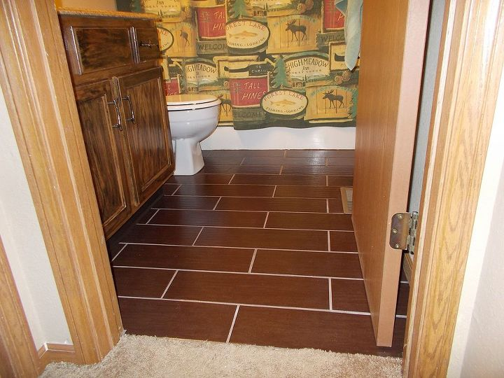 wood look ceramic tile, bathroom ideas, tiling