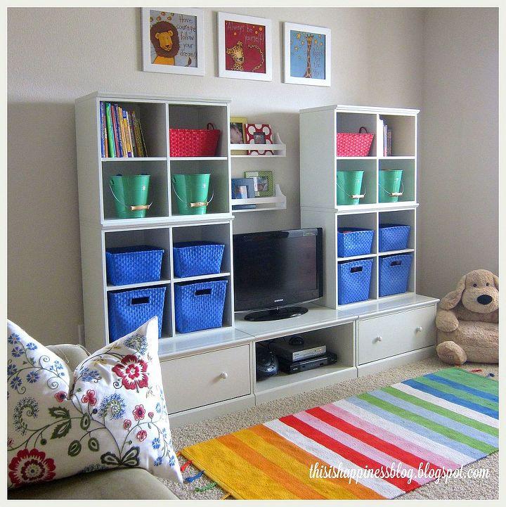 bright cheerful organized playroom, entertainment rec rooms, home decor