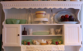 painted hutch and beadboard wallpaper, home decor, kitchen design, painting, after