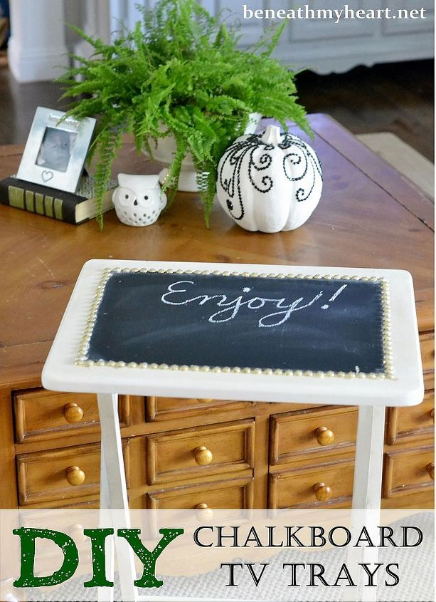 diy chalkboard tv trays, chalkboard paint, diy, painted furniture, reupholster
