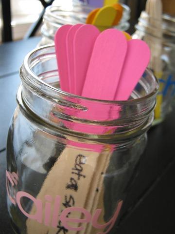 chore sticks, crafts, mason jars