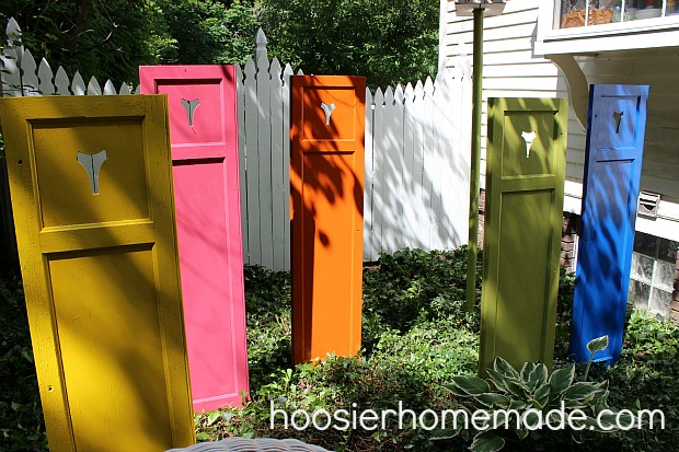 Re-purposed old shutters for added color