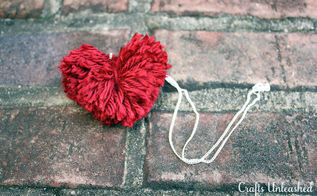 creating heart shaped pom poms, crafts, valentines day ideas, We used our heart shaped pom pom to create a sweet little necklace